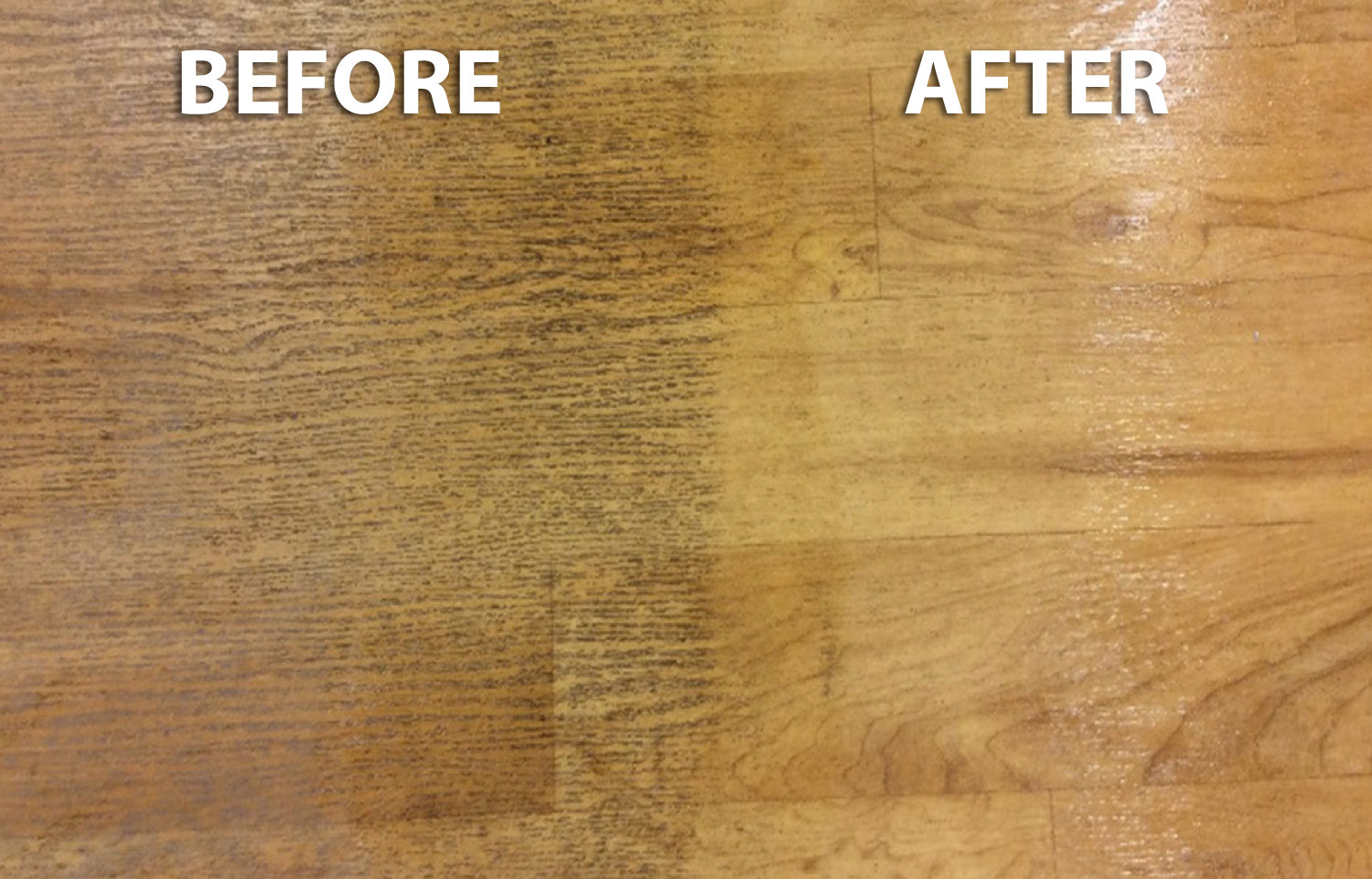 Before & After - Luxury Vinyl Flooring After Being Cleaned by EnvirOx product
