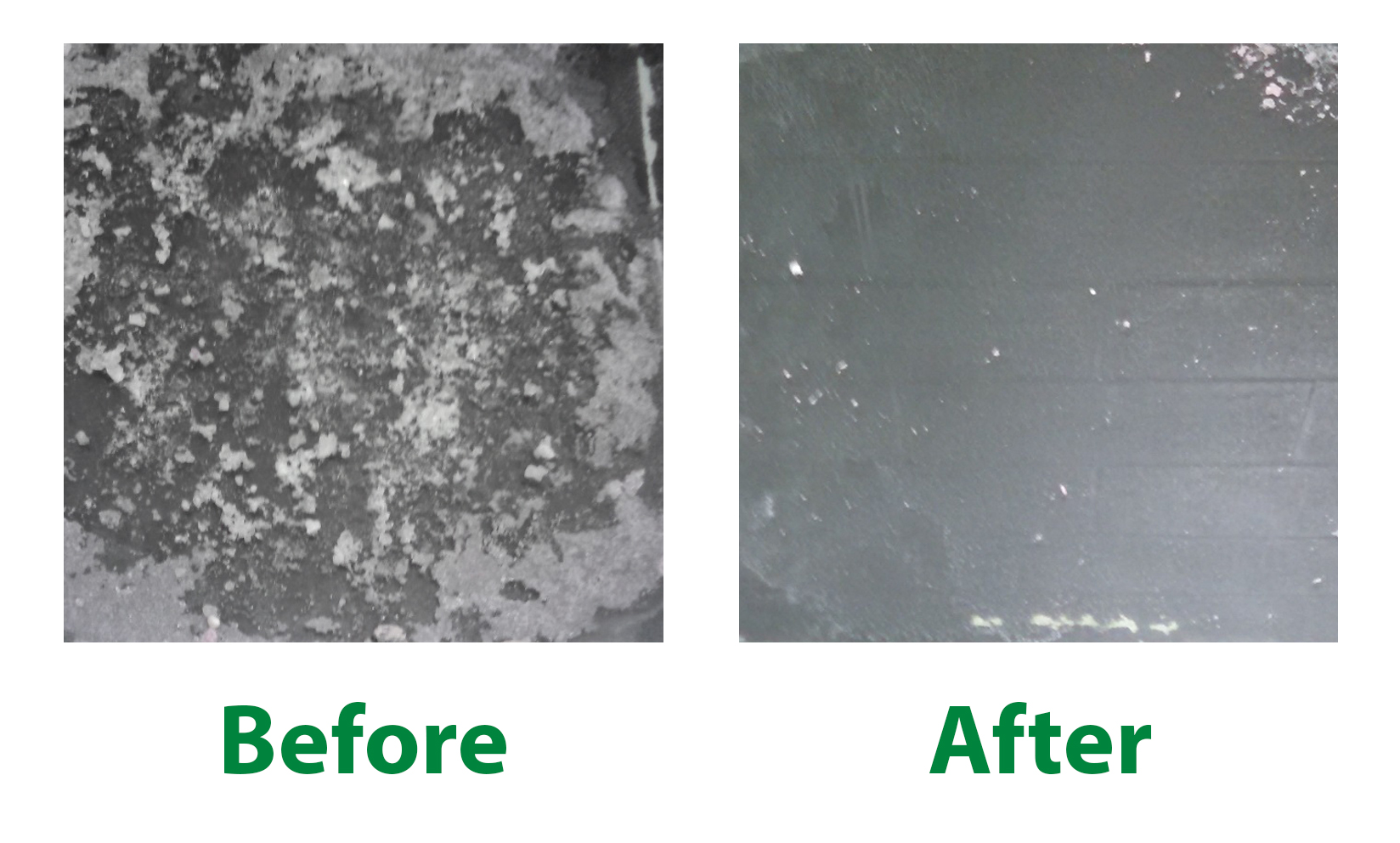 Before and After using EnvirOx Green Certified Neutral Floor Cleaner on Ice Melt Residue