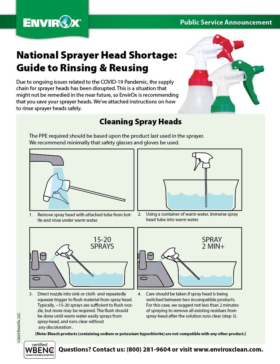 Preview of informational PDF on how to rinse and reuse sprayer heads