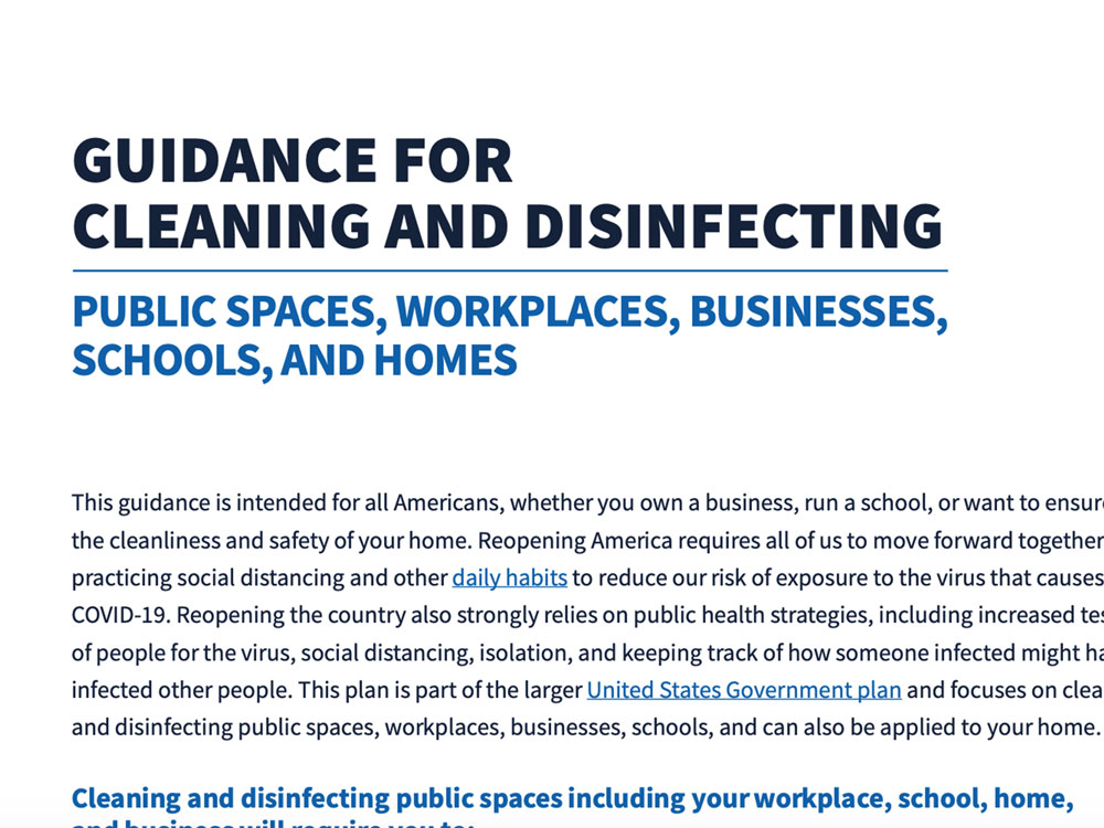 Guidance for Cleaning and Disinfecting Download