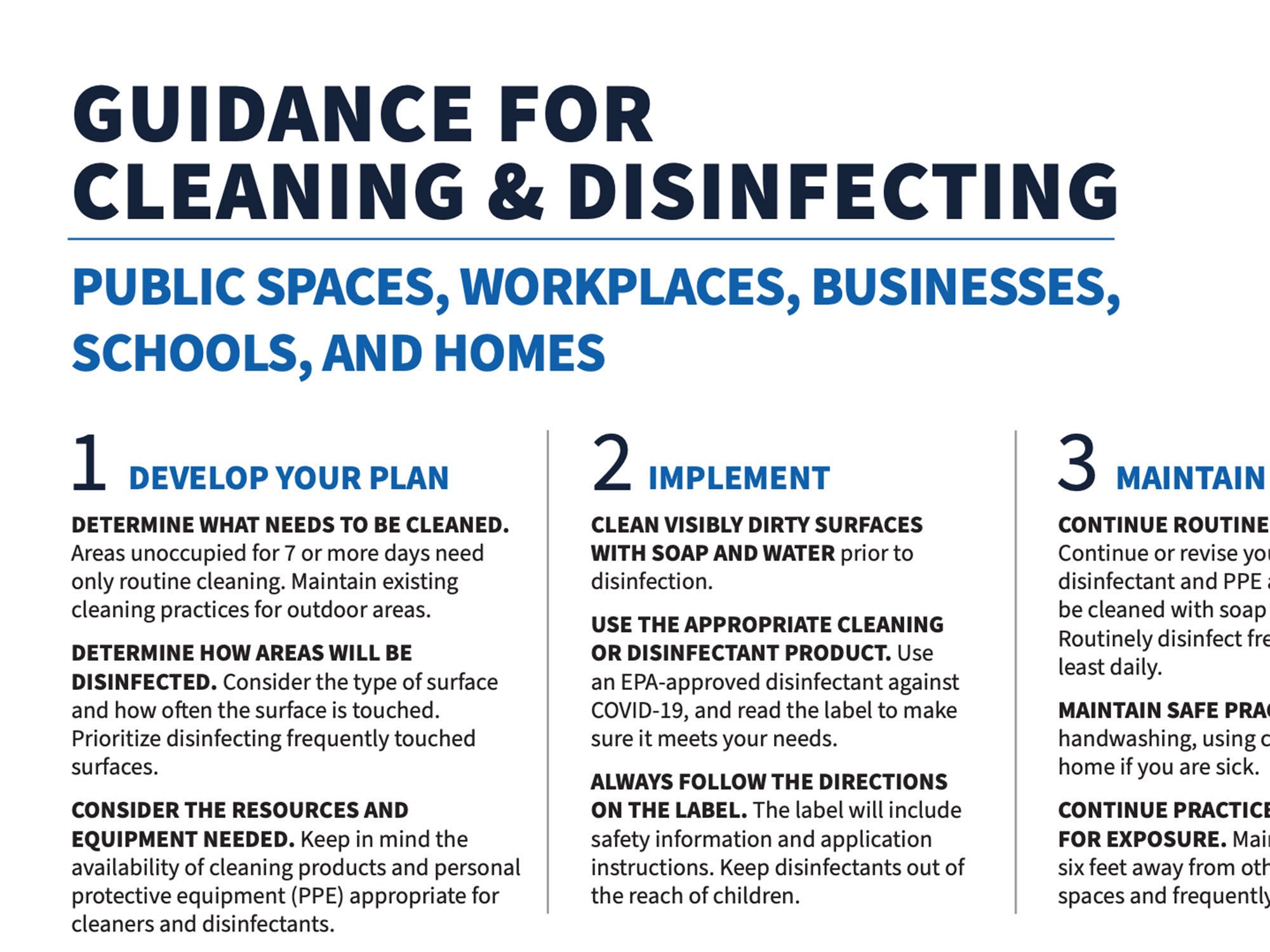 Decision Tool for Cleaning and Disinfecting